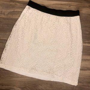 Lace knee length skirt